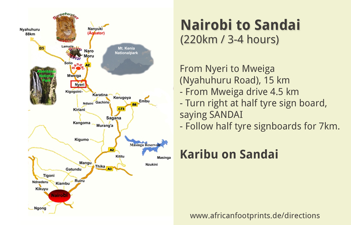 Directions from Nairobi to Sandai