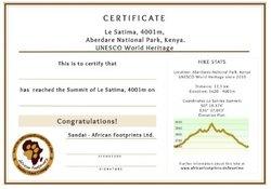 Zertifikat für die erfolgreiche Wanderung